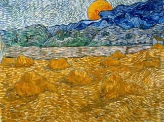 van-gogh paesaggio-covoni-grano-luna