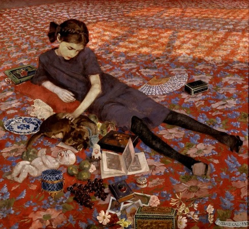 casorati-girl-on-a-red-carpet-1912