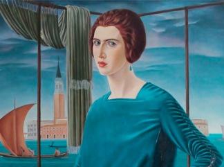 Ubaldo Oppi Ritratto della moglie sullo sfondo di Venezia 1921 particolare