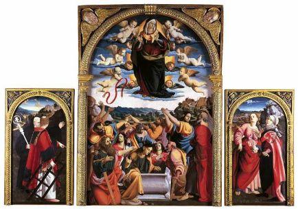 Cola dell Amatrice  Musei Vaticani  Assunzione della Vergine  I santi Lorenzo e Benedetto  le Sante Maria Maddalena e Scolastica